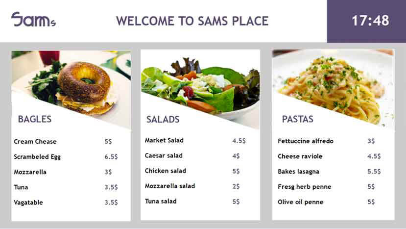 Godreamz digital menu board templates